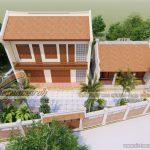 Thiết kế nhà thờ họ 2 mái kèm nhà ở 2 tầng tại Thanh Hóa