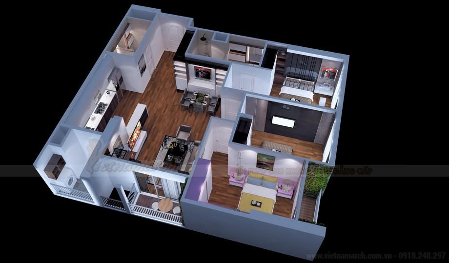 Mặt bằng thiết kế nội thất căn hộ 17 Park 11 Times City