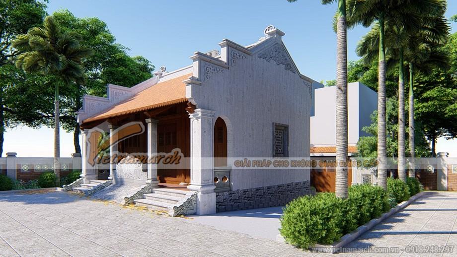 thiết kế công trình nhà thờ họ 3 gian 2 mái của chú Vinh ở Vĩnh Phúc