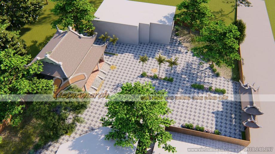 Phối cảnh công trình nhà thờ tổ 8 mái nhà anh Âu tại Thanh Hóa nhìn từ trên cao
