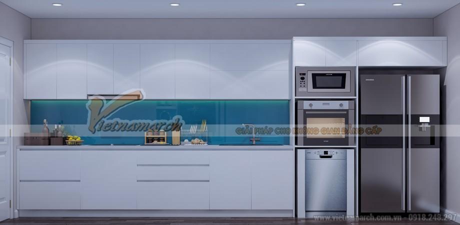 Tủ bếp được lên phương án thiết kế 3D sao cho đầy đủ công năng và phù hợp với diện tích