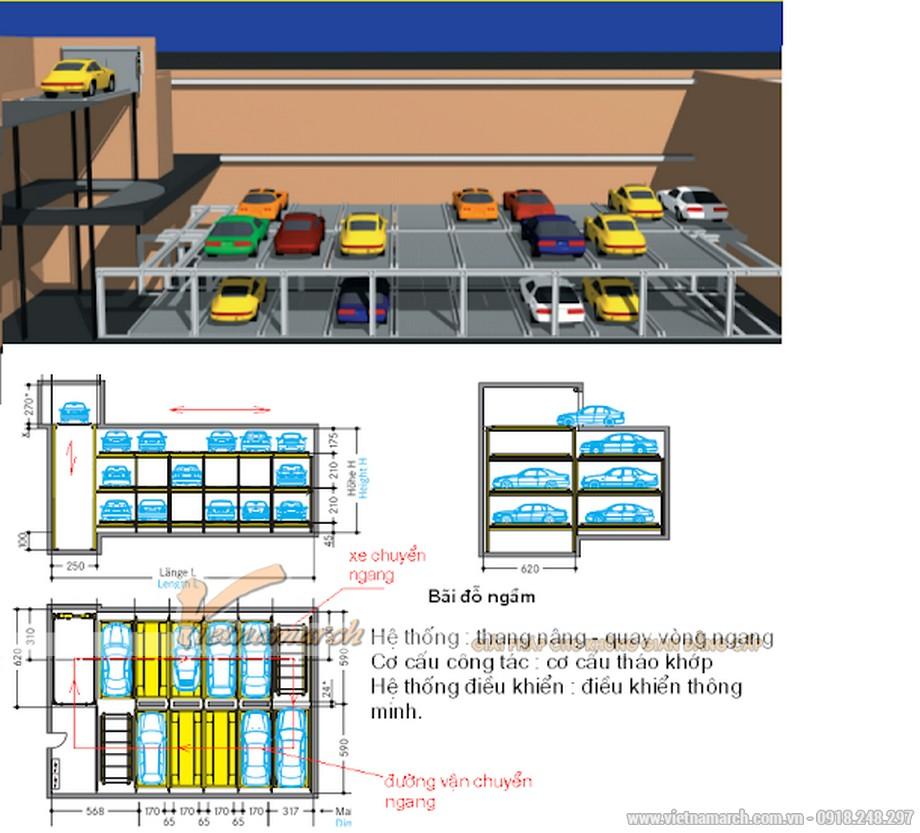 Hệ thống đỗ xe thang nâng - quay vòng ngang