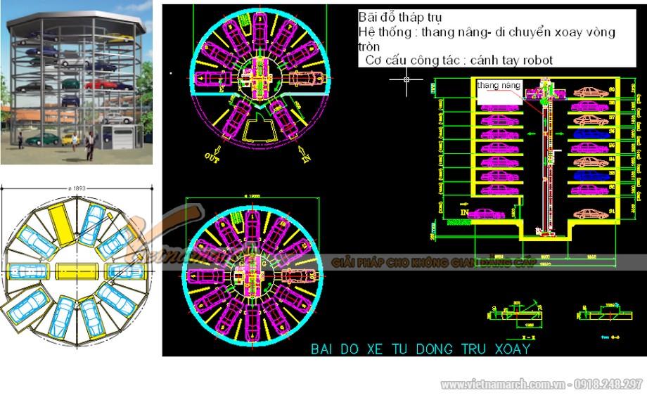Hệ thống bãi đỗ xe thang nâng - quay vòng tròn