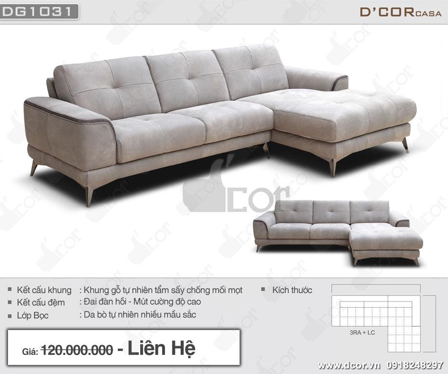 Thông số sản phẩm sofa da thật DG1031 Milazzo Italia