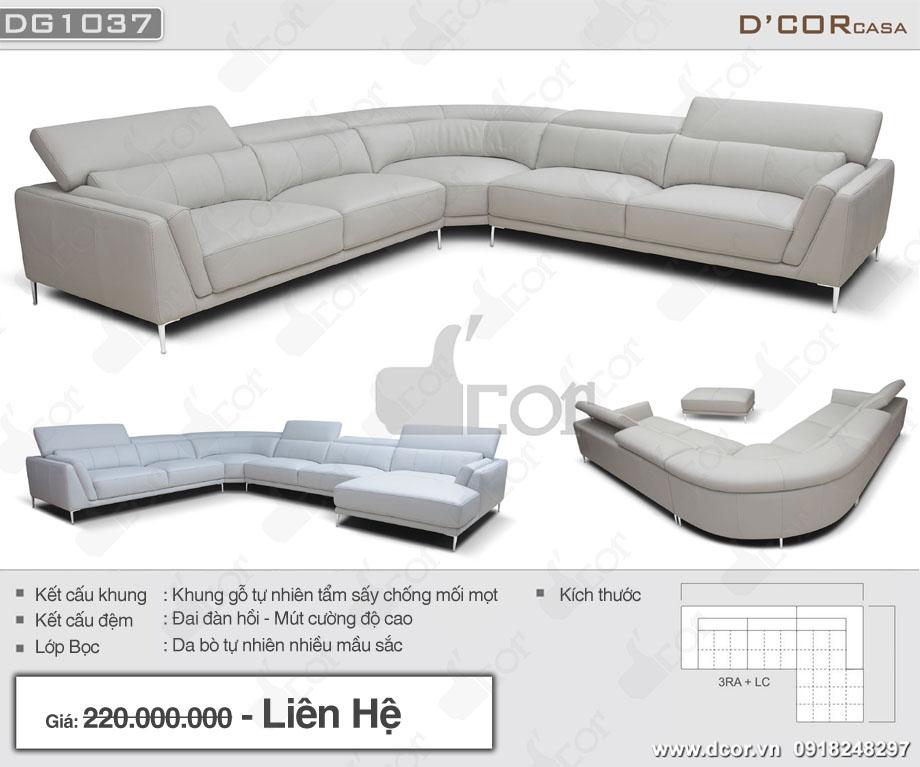 Thông số của sofa góc L DG 1037 Rigoletto Italia