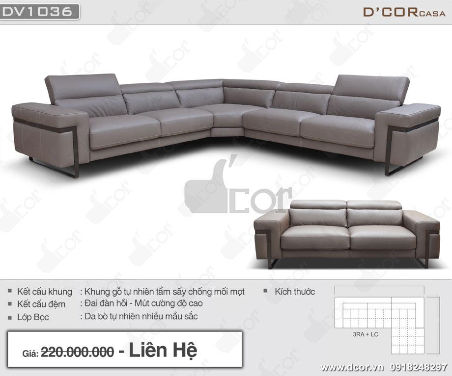 Thông số sofa da nhập khẩu cao cấp DV 1036 Ponte Italia
