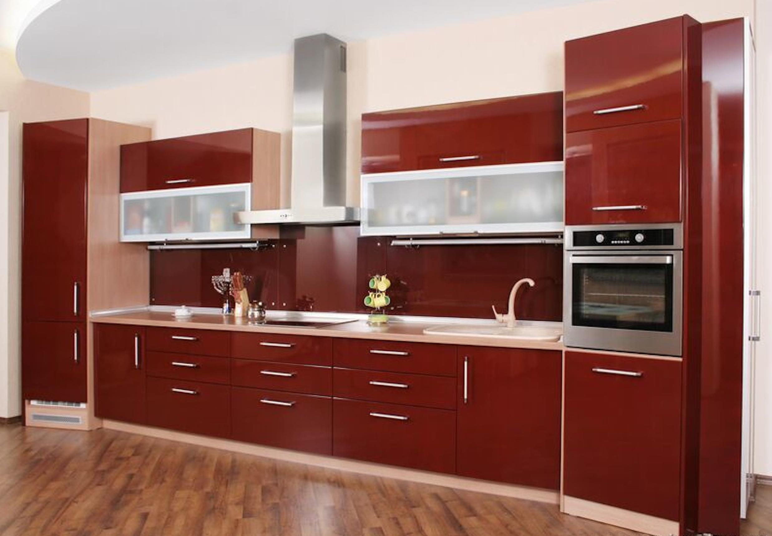 Mẫu tủ bếp đẹp bằng nhôm kính
