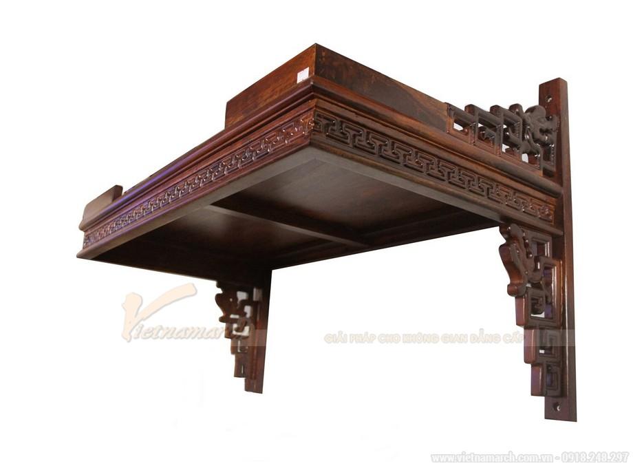 Mẫu bàn thờ treo tường gỗ gụ kích thước chuẩn lỗ ban.