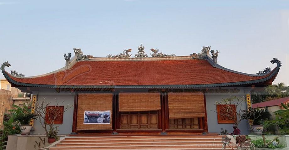 Ngôi nhà thờ họ 4 mái cong đầu rồng với kế cấu bê tông giả gỗ được hoàn thiện
