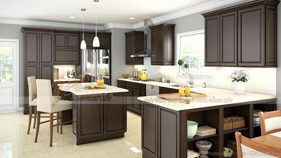 Mẫu tủ bếp đẹp bằng gỗ công nghiệp