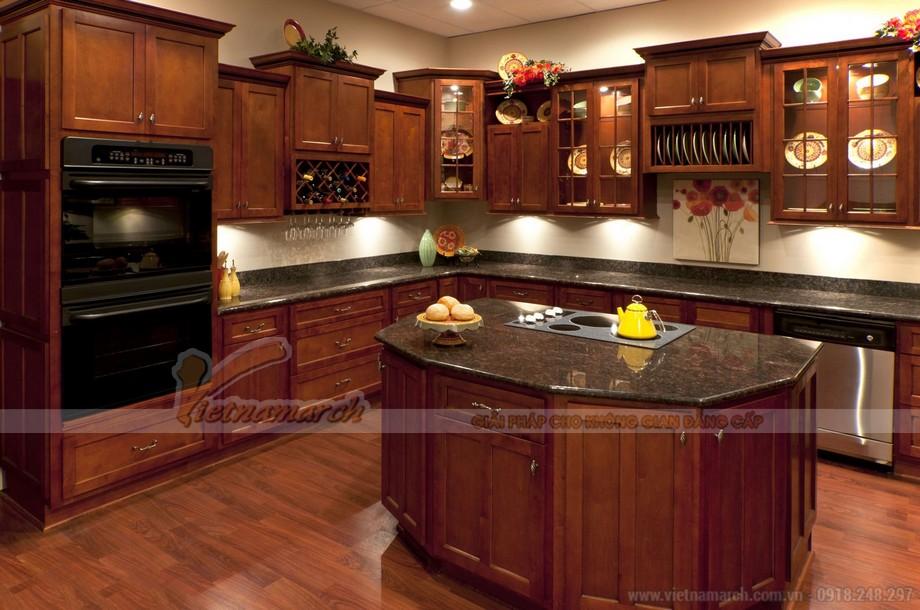 Mẫu tủ bếp đẹp từ gỗ tự nhiên