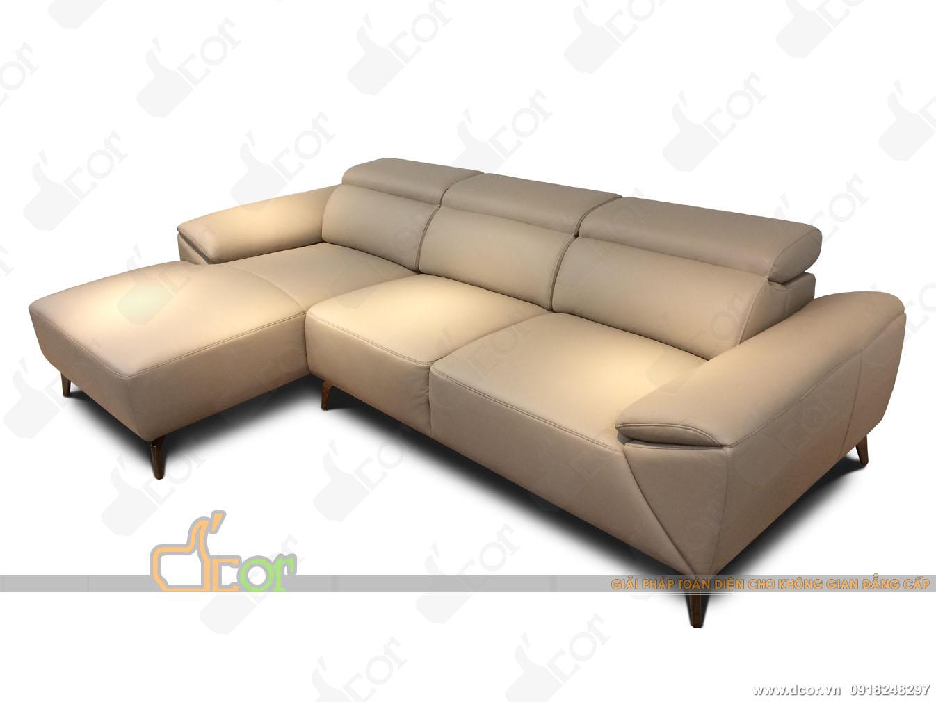 Sofa da thật góc L nhập khẩu Malaysia: DG701- điểm nhấn độc đáo cho phòng khách