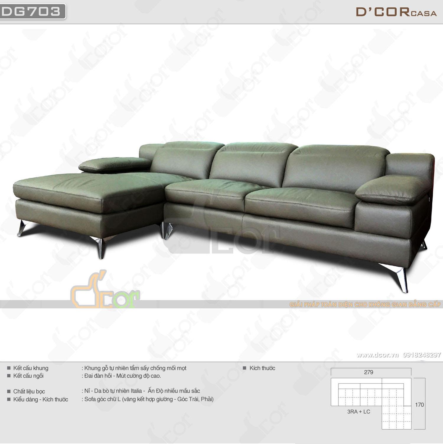Sofa nhập khẩu cao cấp Malaysia da thật 100%  DG703 cho phòng khách hiện đại