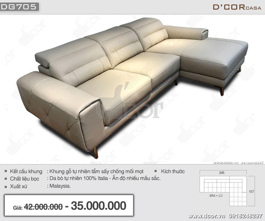 mẫu ghế sofa đẹp lịch lãm DG705 nhập khẩu chính hãng Malaysia