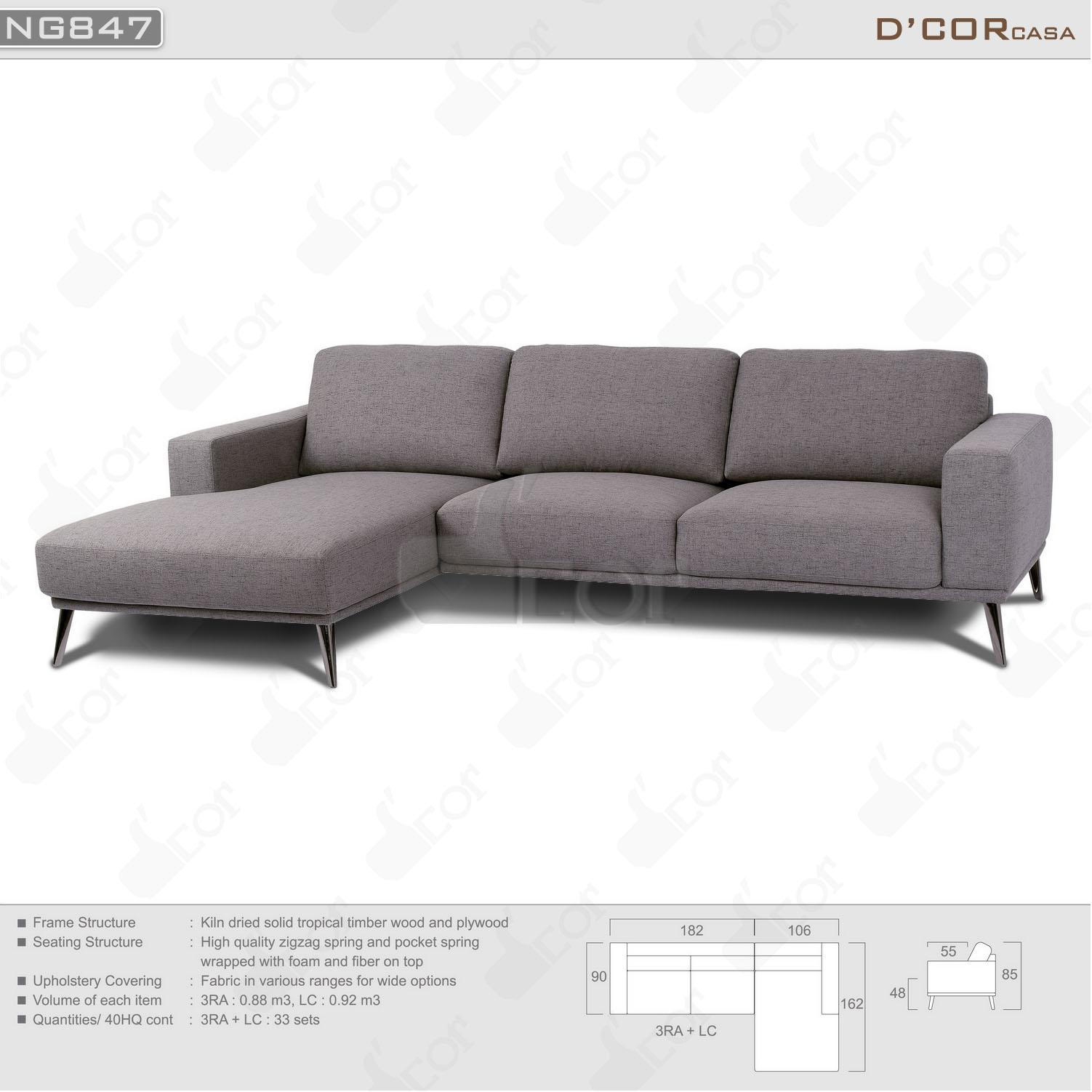 Mẫu sofa Malaysia góc nỉ đẹp trang nhã- NG847.