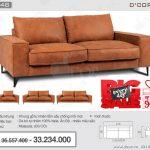 Ghế sofa văng da bò thật 100% nhập khẩu Malaysia DV848 làm sáng bừng phòng khách