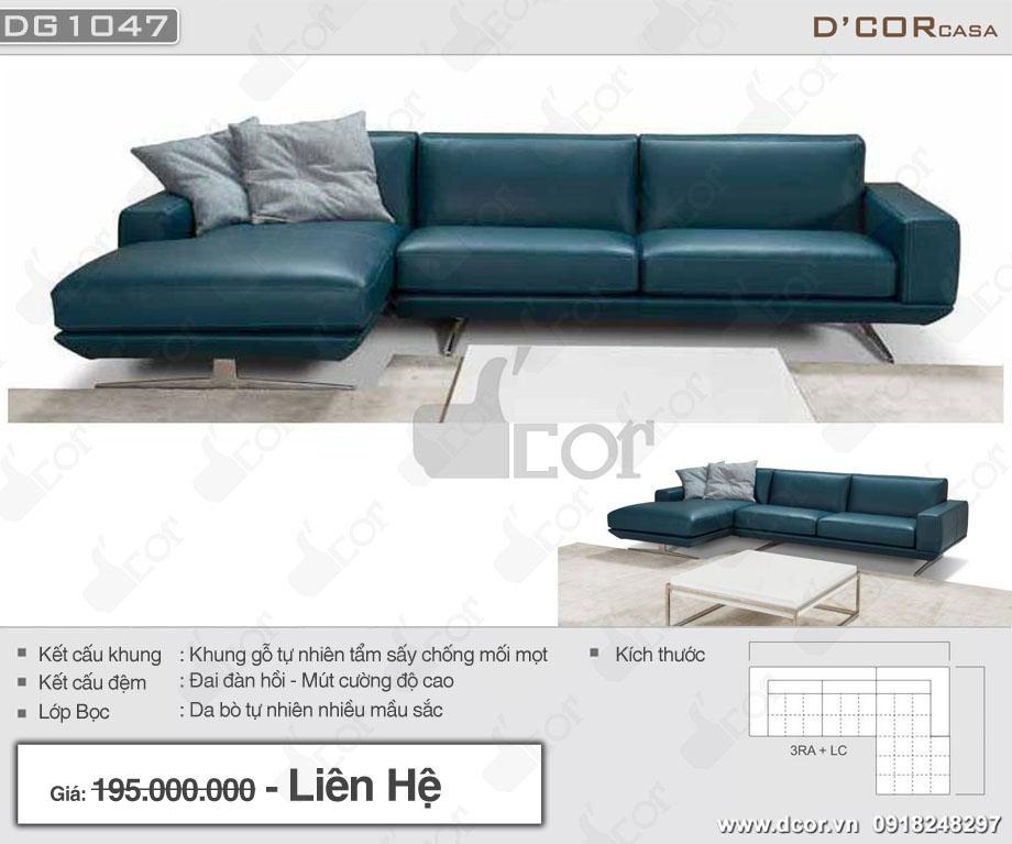Mẫu sofa góc da nhập khẩu Italia màu xanh nổi bật