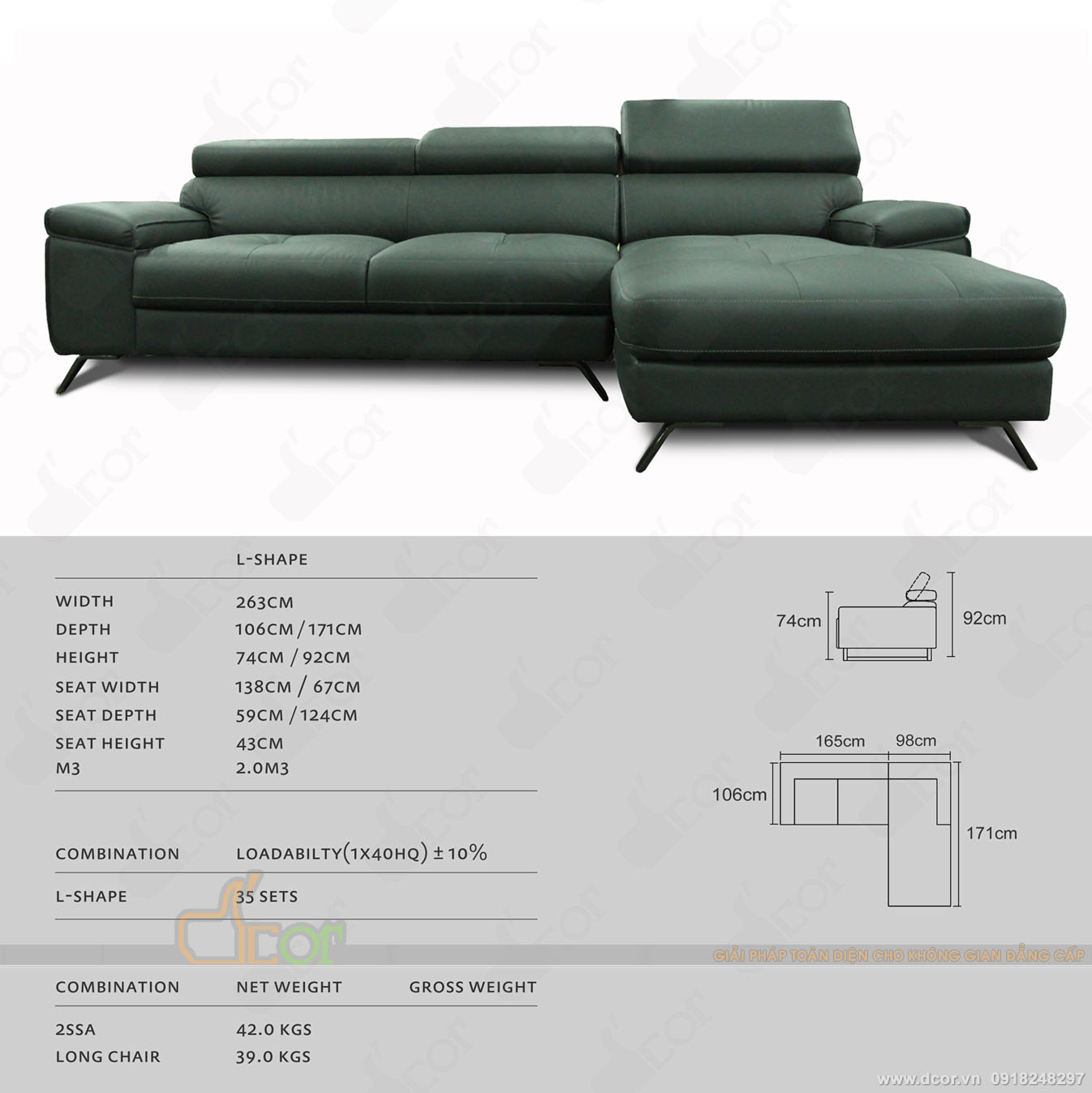 Sofa góc L da thật nhập khẩu Malaysia cho phòng khách đẹp độc, lạ