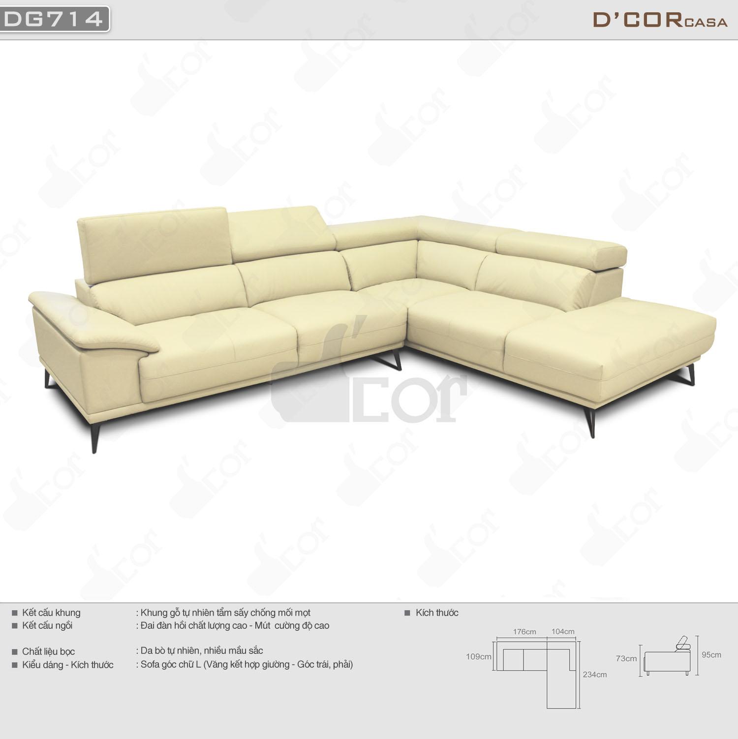 Sofa góc L da thật DG714 nhập khẩu Malaysia mang lại vẻ đẹp hiện đại