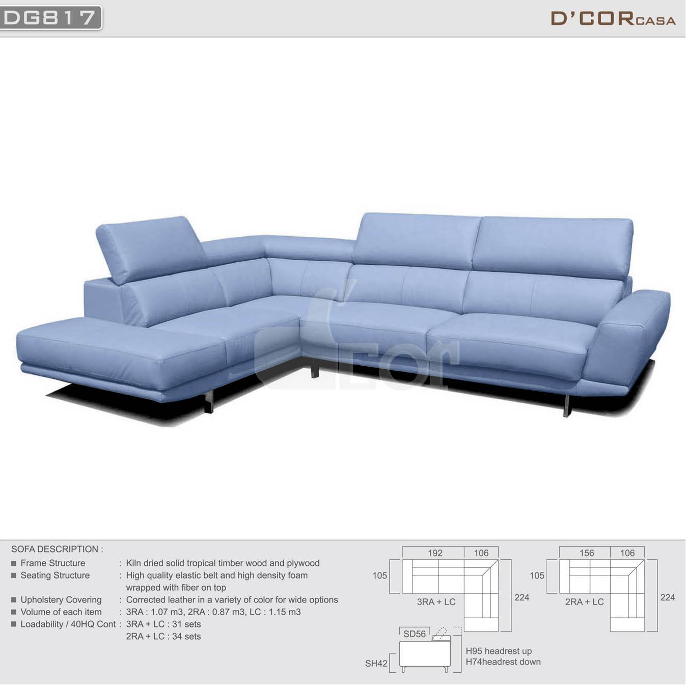 Phòng khách đơn giản, hiện đại với sofa da nhập khẩu Malaysia DG817