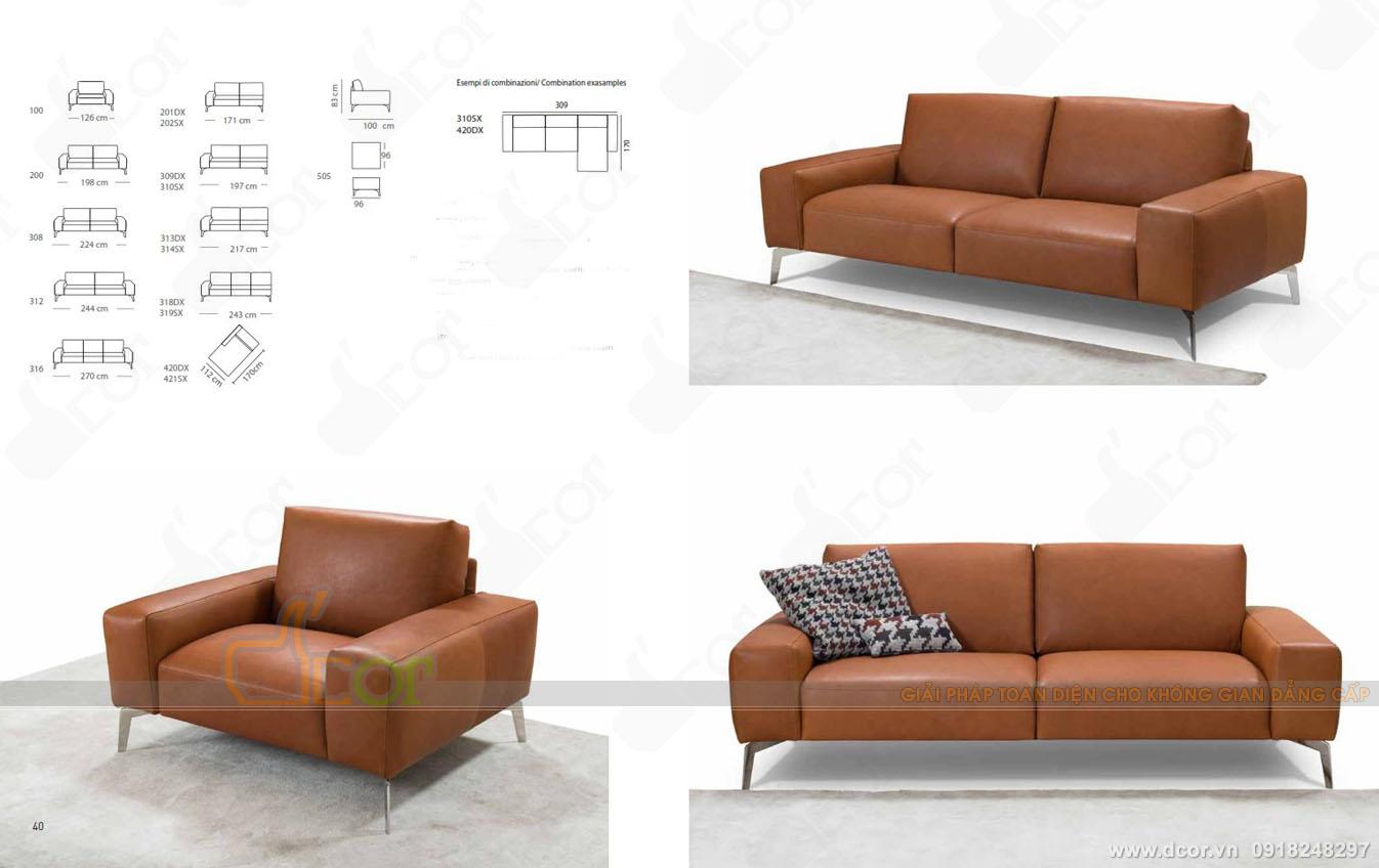 Ghế sofa phòng khách nhập khẩu Italia DV 1048 đẹp hiện đại