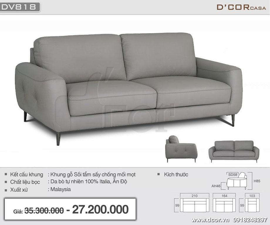 Mẫu sofa văng da thật nhập khẩu Malaysia cho phòng khách nhỏ đẹp mê hồn: DV818