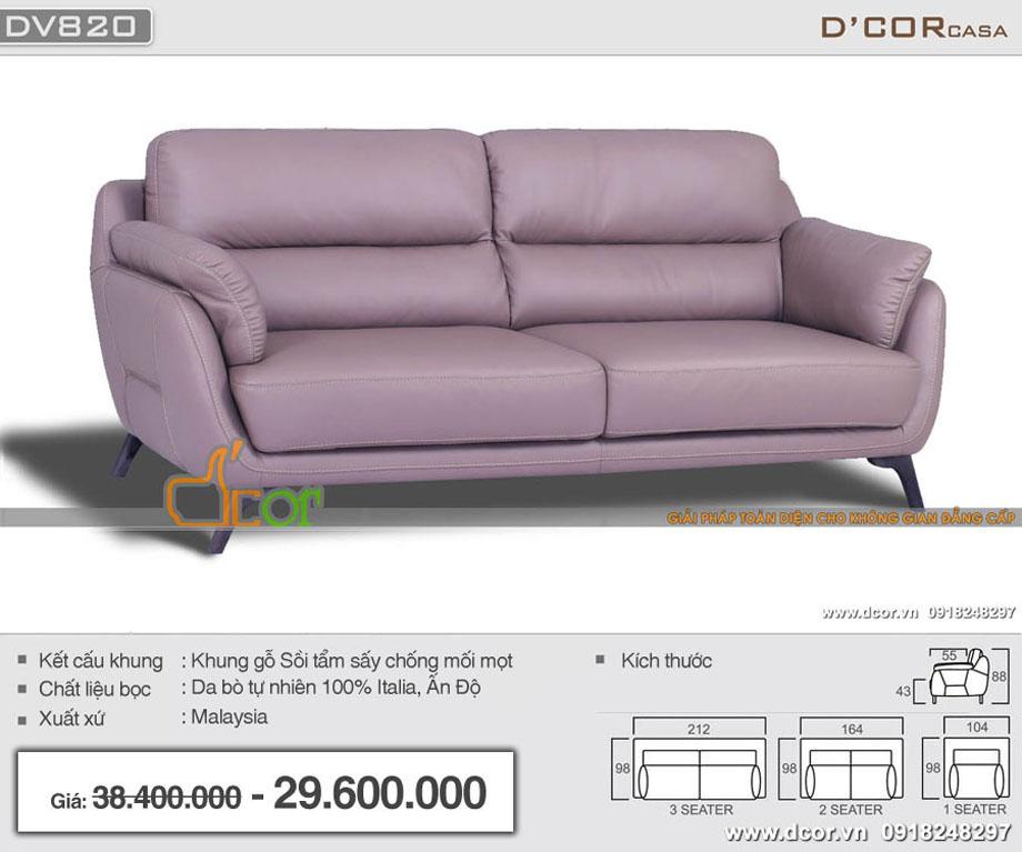 Mẫu sofa văng da 2 chỗ hiện đại màu tím nhập khẩu Malaysia