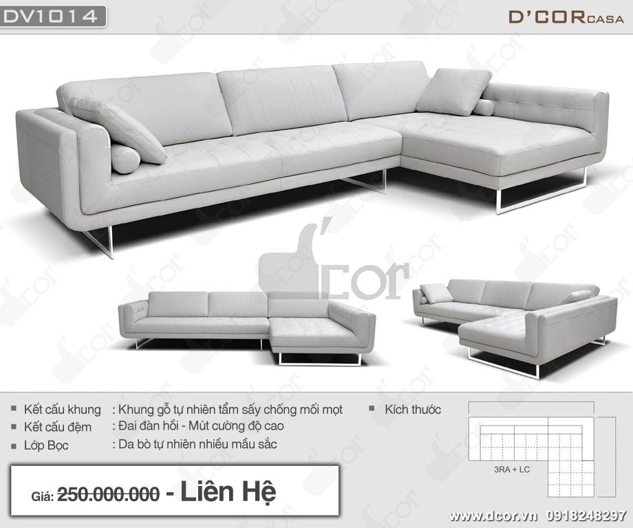 Sofa góc da Ý nhập khẩu màu trắng thanh lịch