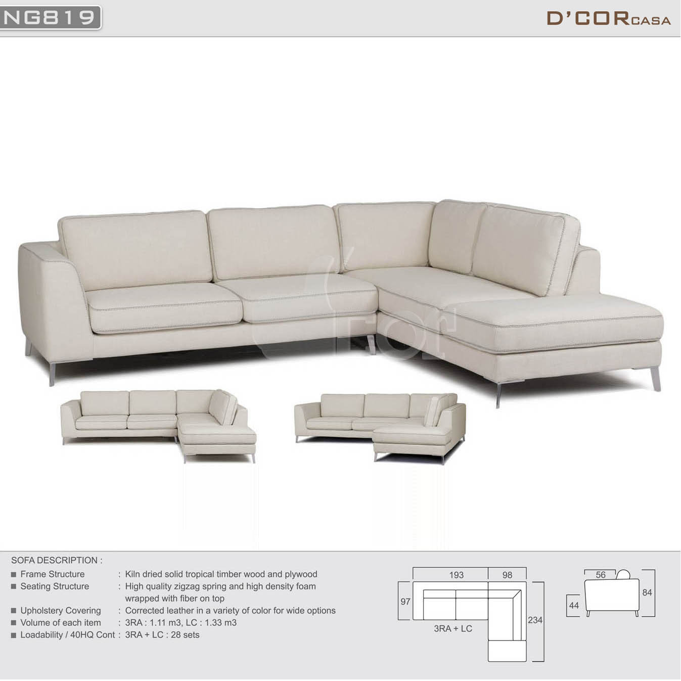 Hạ gục ánh nhìn với sofa nhập khẩu cao cấp NG819 cho phòng khách sang trọng