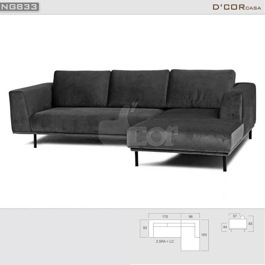 Mẫu sofa nỉ đẹp hiện đại nhập khẩu Malaysia NG833