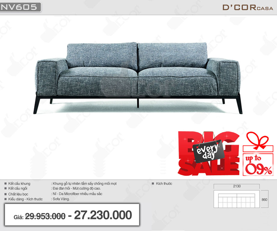 Sofa văng thanh lịch cho phòng khách đẹp hiện đại : NV605