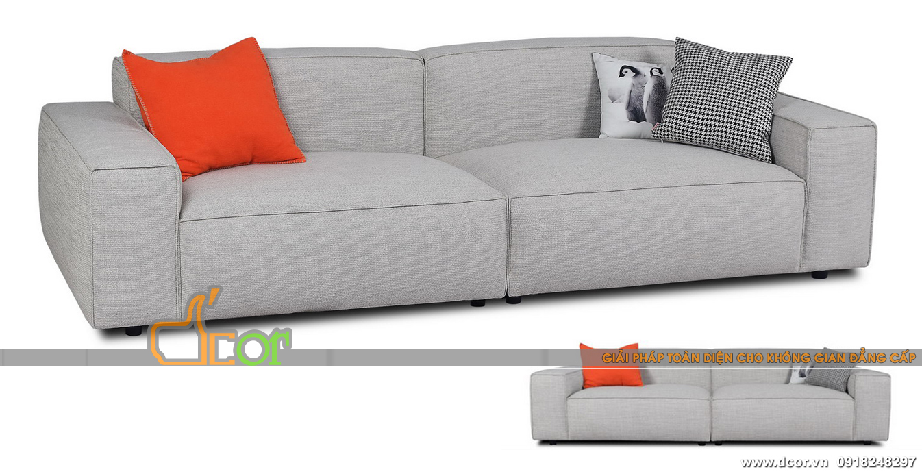 Mẫu sofa văng nỉ nhập khẩu màu ghi sáng hiện đại cho chung cư