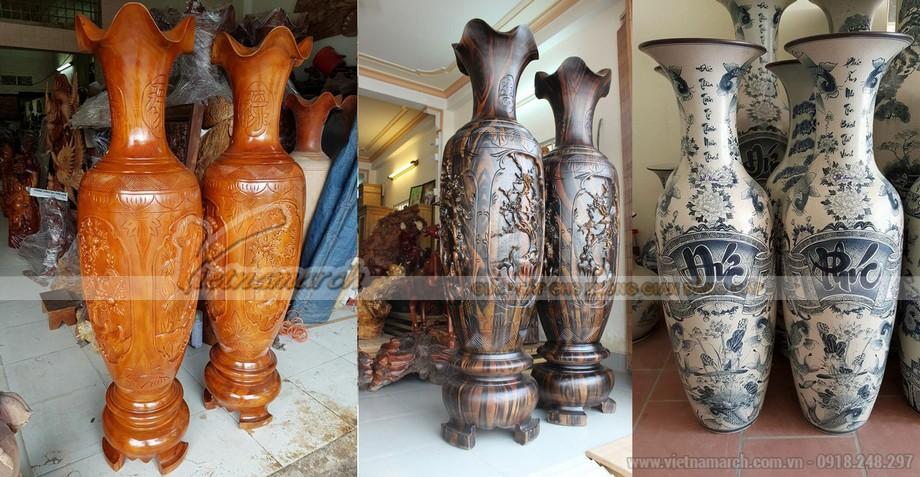 Đôi lục bình bằng gỗ, bằng gốm