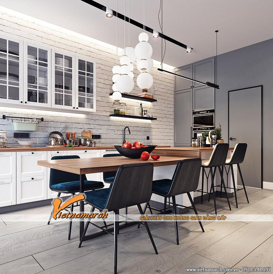 Khu vực nấu ăn được bố trí tối giản, phù hợp được đặt sát tường.
