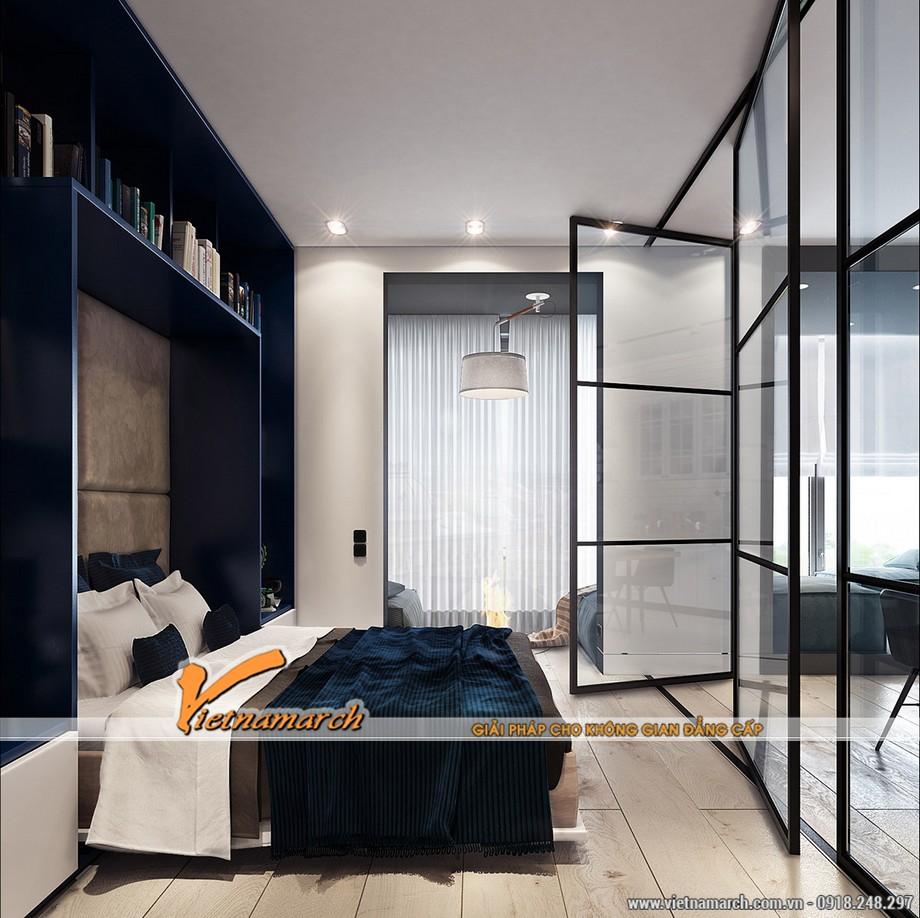 Không gian phòng ngủ tuy không lớn nhưng lại được thiết kế sáng tạo bằng cách ngăn cách với không gian bên ngoài bằng cửa kính