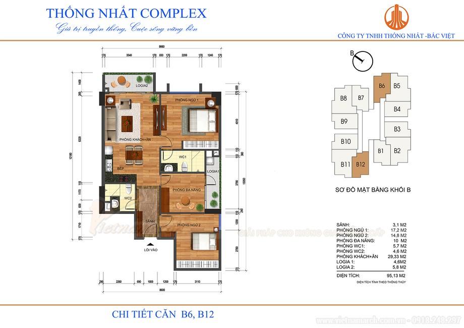 Mặt bằng thiết kế nội thất căn B6, B12 chung cư Thống Nhất Complex 82 Nguyễn Tuân.