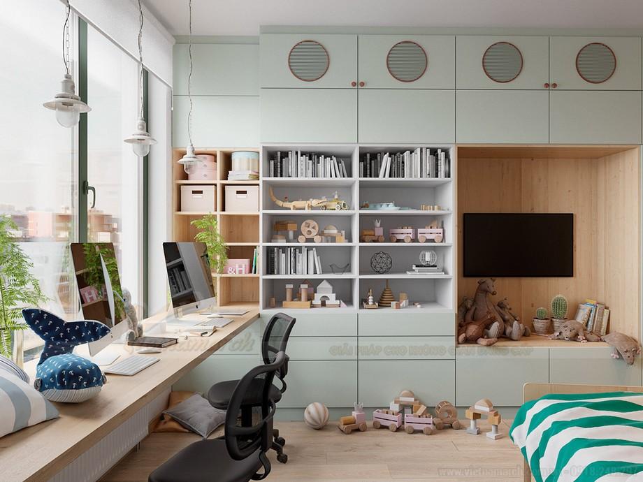 Không gian phòng ngủ và góc học tập cho trẻ