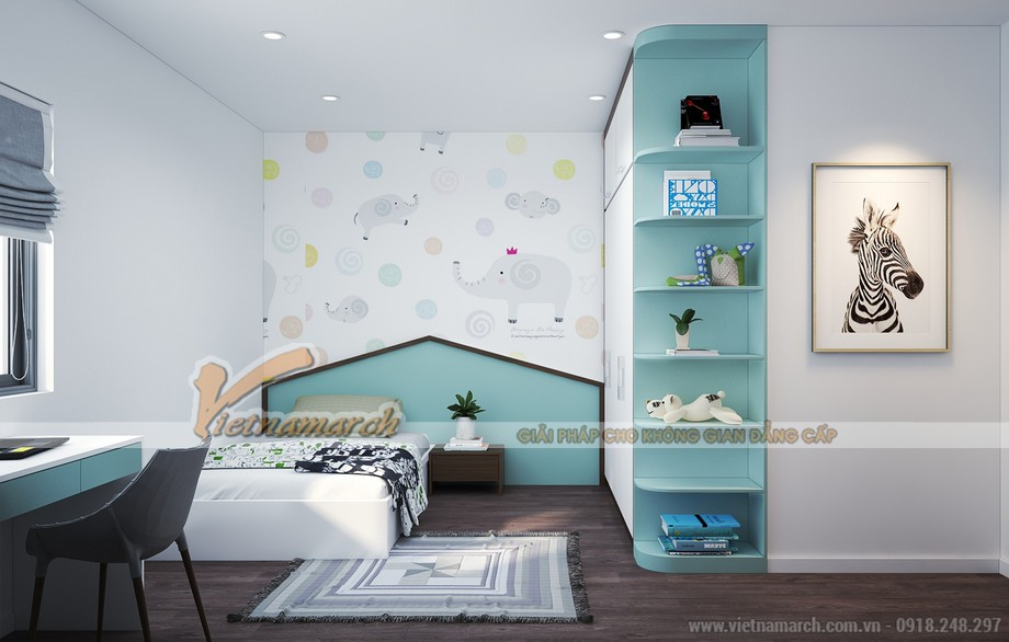 Phòng ngủ dành cho trẻ tại căn 90m2 chung cư Thống Nhất Complex Nguyễn Tuân