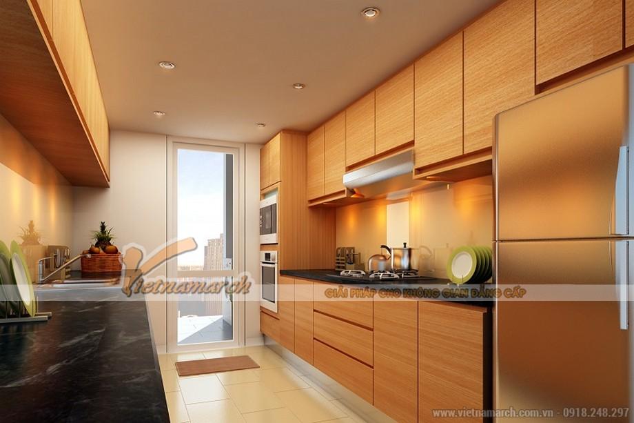 Thiết kế nội thất phòng bếp căn hộ mẫu chung cư Thống Nhất Complex 82 Nguyễn Tuân