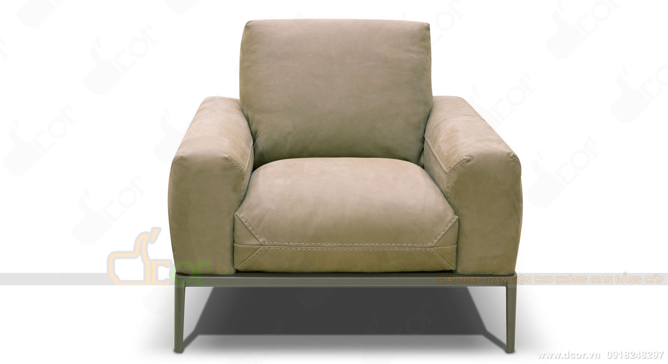 Mẫu sofa đơn nhập khẩu Italia chất liệu da thật