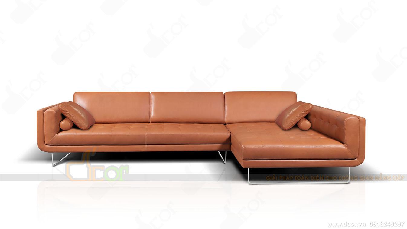 Mẫu sofa góc chất liệu da bò tự nhiên nhập khẩu Italia
