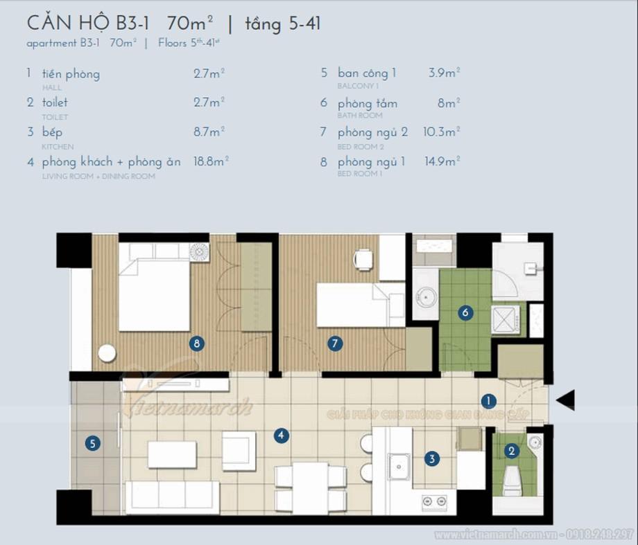 Mặt bằng của căn hộ B3-1