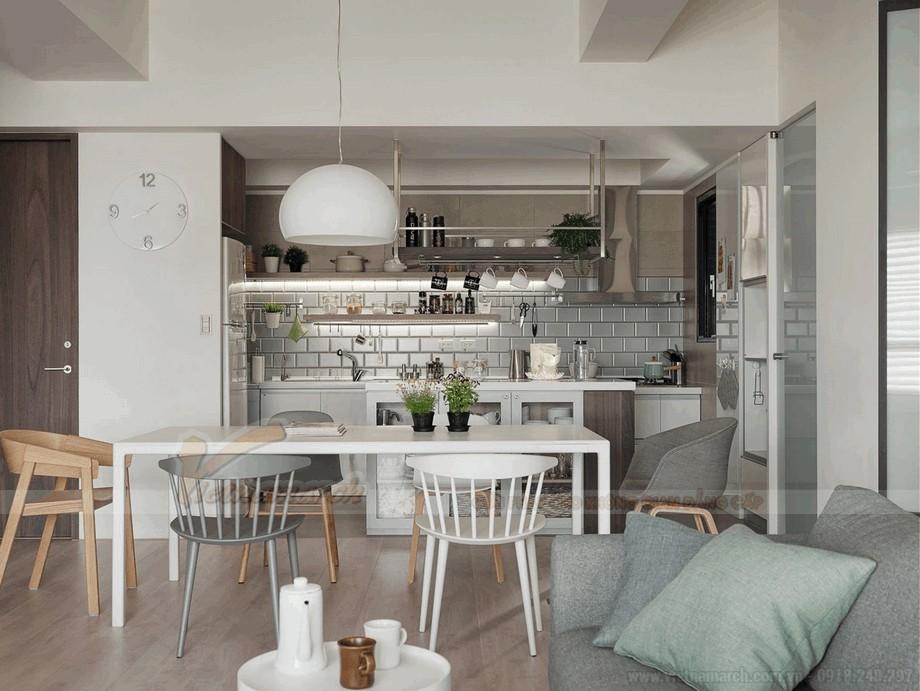 Phòng bếp gọn gàng, ấm cúng