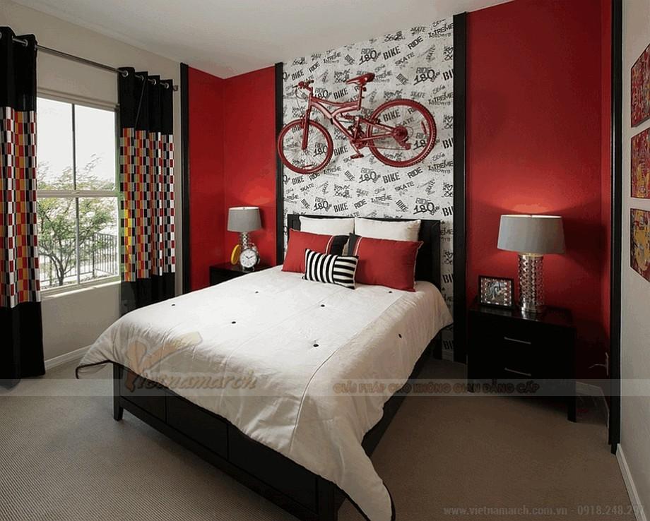 Phòng ngủ có sự tương phản màu sắc độc đáo