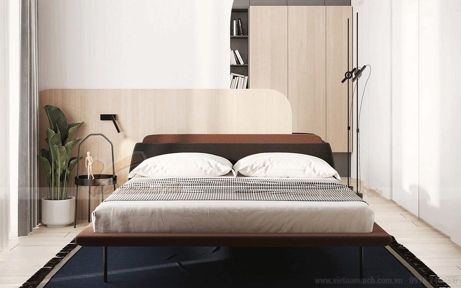 Không gian phòng ngủ với thiết kế bất đối xứng
