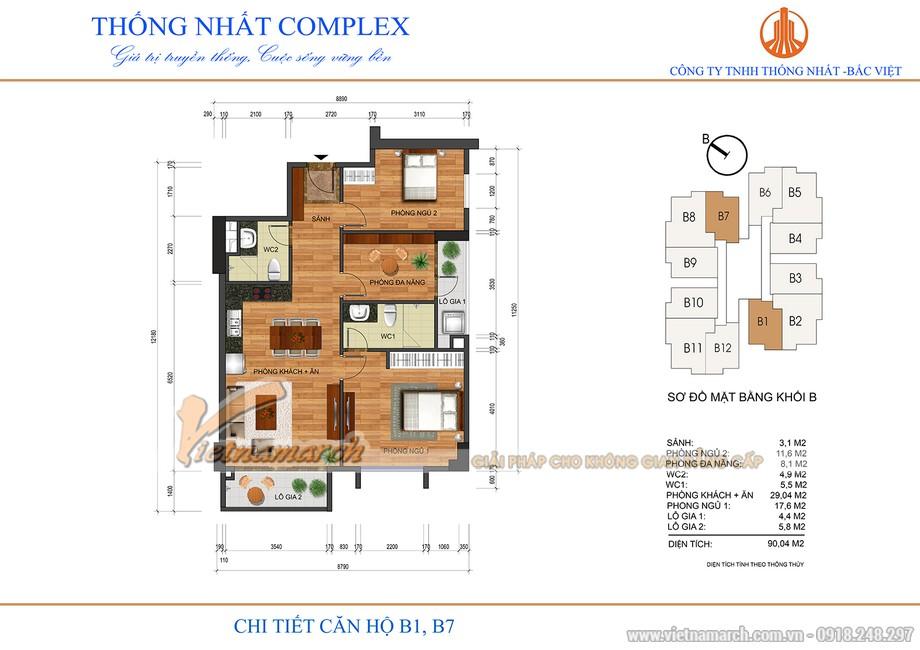 Mặt bằng căn hộ B1, B7 chung cư Thống Nhất 82 Nguyễn Tuân