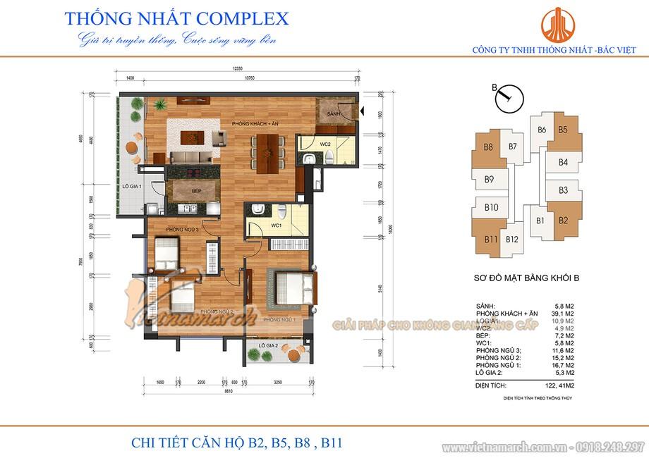 Mặt bằng căn hộ B2, B5, B8, B11 chung cư Thống Nhất Complex Nguyễn Tuân