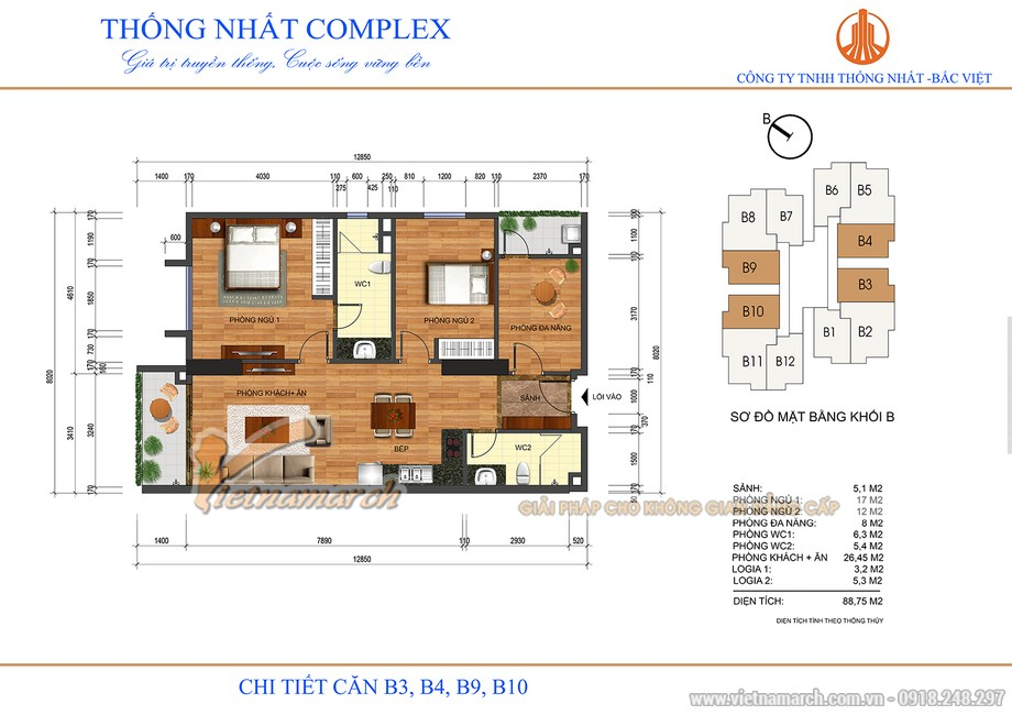 Mặt bằng căn hộ B3, B4, B9, B10 chung cư Thống Nhất 82 Nguyễn Tuân