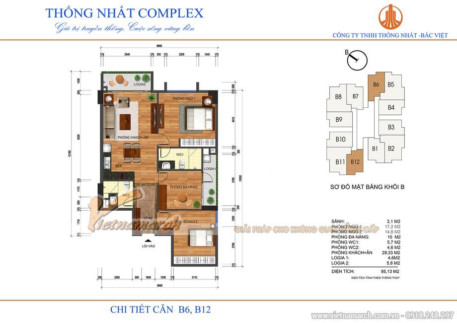 Mặt bằng căn hộ B6, B12 chung cư Thống Nhất Complex Nguyễn Tuân