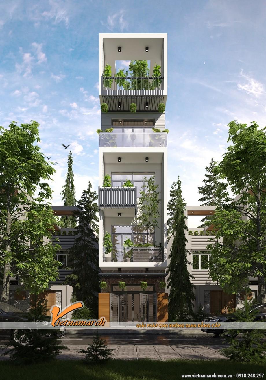 Mẫu 1: Mẫu nhà có ban công thu hẹp để trồng cây cao